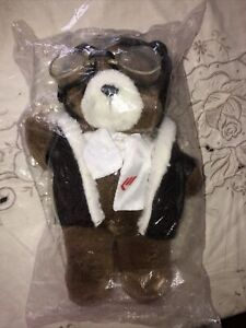 Martinair Holland Air Brown Pilot Teddy Bear with goggles & pleather hat & vest