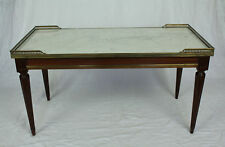 French Vintage Louis XVI Style Marble Top Brass Gallery Coffee Table