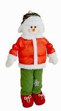 "Standing Snowman Figure 28"" Bundled Red GREEN Christmas Table Top Decor Window"