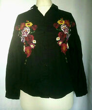 Pull and Bear Black Blouse Embroidered Floral design Size S