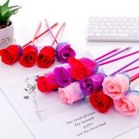 2Pcs Rose Flower Shape Ballpoint Pen School Writing Stationery Supplies Kid Gift