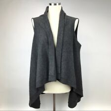 Adrianna Papell Womens XL Sleeveless Cardigan Sweater Gray Shawl Long Open Front