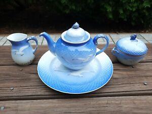 B&G Bing&Grondahl Royal Copenhagen Seagull Tea Coffee Teap Pot Plate Set Creamer