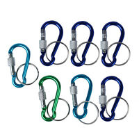 7 Pcs 5# Screw Lock Mini Multicolor Aluminum Carabiner Hook w Keyring M3S0