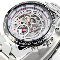 WINNER Men Skeleton Automatic Mechanical Silver Stainless Steel Band Wrist Watch