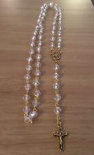 Catholic Crystal Clear Rosary Beads, Handmade