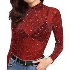 CA Women's Sequin See-Through Long Sleeve Glitter Top Mesh Sheer Shirt Blouse