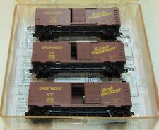 N SCALE: RUNNER PACK - (3) 40' STANDARD BOX CARS w/SINGLE DOOR - UNION PACIFIC