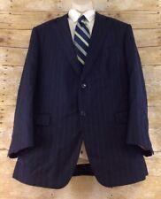 Samuelsohn Wool Blazer 44R Blue Striped Super 130s 2 Button Dual Vent