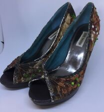 Steve Madden Womens Size 7 ( M9 ) Sequin Peep Toe Heels Shoes