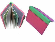 Colourful Leather Credit Card holder Holds 8 Cards Golunski - Pink & Green - 892