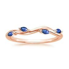 14k Rose Gold 0.20Ct Blue Sapphire Wedding Bands Gemstone Eternity Rings Size N