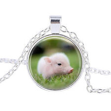 Vintage little pig Cabochon Tibetan Silver Glass Chain Pendant Necklace #B209