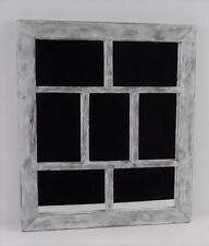 Old Window Look 7 Pane Mirror Wood Frame Rectangle White Gray Distressed Rustic