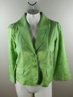 Robert Graham 3 Button Blazer Jacket Floral 3/4 Sleeve Silk Blend Womens Size 10