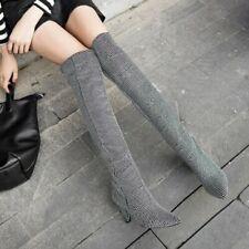 Women Rhinestone Glitter Embellished Crystal Covered Clubwear Knee High Boots