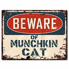 Pp1553 Beware of Munchkin Cat Plate Rustic Chic Sign Home Store Decor Gift