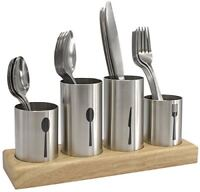 Sorbus Silverware Holder with Caddy for Spoons, Knives Forks- Stainless Steel wi