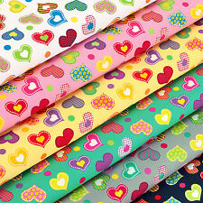 Cotton Fabric by FQ Kawaii Flower Gingham Stripe Heart Quilt Polka Dot Spot VA92