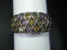 Sterling 925 Silver Ring with faux peridot citrine & amethyst stones  signed ND