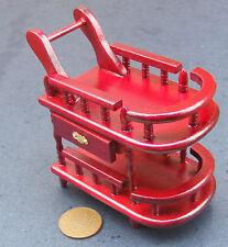 1:12 Scale Mahogany Tea Trolley Tumdee Dolls House Miniature Wooden Furniture