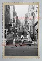 CENTRAL POTTIGER STREET SCENE LADY WOMEN B&W Vintage HONG KONG Photo 29305 香港旧照片