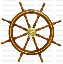 "36"" Brass Wooden Steering Nautical Beach Maritime Boat Ships Wheel Captains"