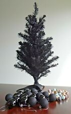 Small Black Artificial Pine Christmas Tree PVC Stand 64cm Height and Baubles