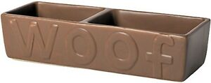 Ancol Ceramic Brown Double Bowl Dog Bowl Dog Feeding Bowl for water or food