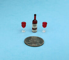 Dollhouse Miniature Red Wine Bottle with 2 Plastic Wine Goblets/Glasses #Zsr3