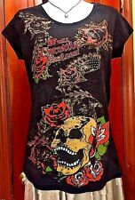 Full throttle saloon Ladies Black Graphic 2 Sides Embellished T Shirt Size L EUC
