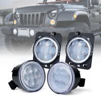 LED Turn Signal w/Halo DRL&Fender Side Light Clear Lens for 07-18 Jeep Wrangler