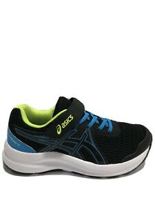 Asics Kids' Contend 7 PS, Black/Blue Running Shoes, Boys' Size 2M.