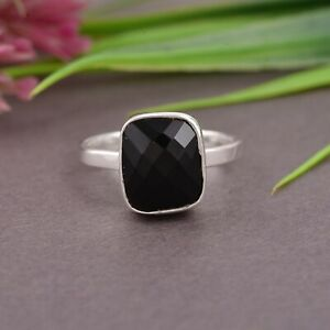 Black Onyx  Silver Engagement Ring 925 Sterling Silver Overlay Jewelry Gift