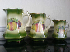 MAYFAYRE Staff England Pottery Green Fruit Detail Jugs x3 - 6 3/4, 6, 4 1/2 inch
