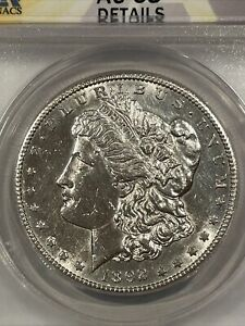 1892-CC BRIGHT WHITE COIN ANACS AU58 DETAILS CLEANED