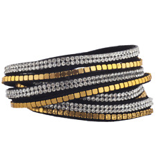 Lux Accessories Black Gold Tone Flat Bead Crystal Double Row Suede Wrap Bracelet