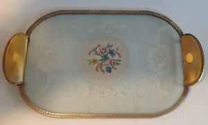 VINTAGE ENGLISH PETIT POINT  DRESSING TABLE VANITY TRAY PINK ROSES