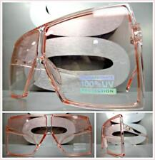 OVERSIZED VINTAGE RETRO SHIELD Style SUN GLASSES Large Square Pink Frame & Lens
