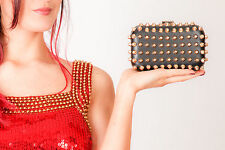 black & gold faux leather studded hardcase clutch bag