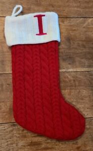 RED Cable Knit Christmas Stocking w/ White Monogram Initial Letter I 19""