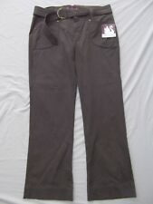 Gloria Vanderbilt pants brn khaki Elisha stretch flap button pocket belt 12 NEW