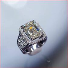 Engagement Ring 925 Sterling Silver 3Ct Emerald Moissanite Halo Wedding