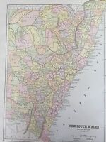 Antique COLOR MAP of New South Wales-circa 1893