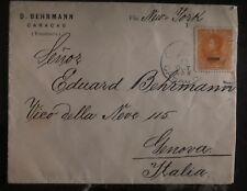 1900 Caracas Venezuela Commercial Cover to Genova Italy Via New York