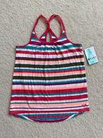 Nwt Girls ROXY Tank Top Stripe Size S 8 Red Brown Purple Green Beige NEW Small