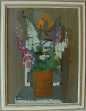 Hugo Simson 1910-1970, Flower still life on the Chair, um 1950