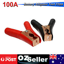 Pair 100A Insulated Electrical Test Lead Clips Alligator Battery Clamps Auto 4WD