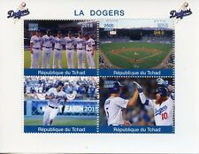 Chad 2018 CTO Los Angeles LA Dodgers 4v M/S Baseball Sports Stamps