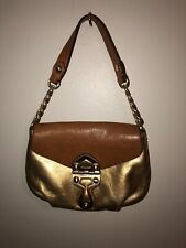 Authentic Michael Kors Clutch Purse Gold And Camel Tan Leather